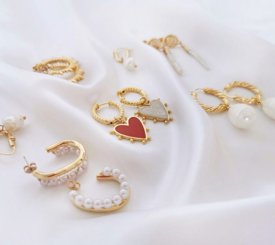Earrings together white satin 2